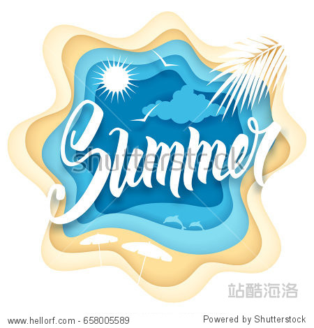Paper art carving style design with hand drawn word Summer and summer recreation elements. Vector illustration.