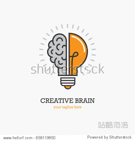 Logo with a half of light bulb and brain isolated on white background. Symbol of creativity  creative idea  mind  thinking.
