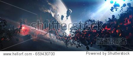 World collapse  doomsday scene  digital painting 3D rendering.