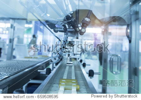 Industrial robot with conveyor in manufacture factory Smart factory industry 4.0 concept.