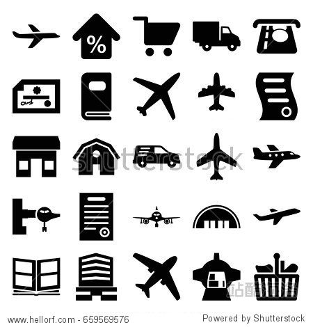 Commercial icons set. set of 25 commercial filled icons such as plane  jetway  barn  atm money withdraw  business center  delivery car  luggage compartment in airplane