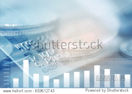 Double exposure Rows of coins of graph Credit cards on the table finance and business concept Money soft focus and blurred style dark tone.