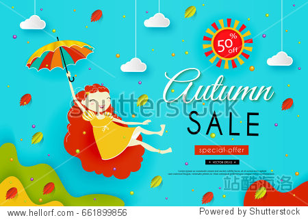 Autumn sale. Paper art. Girl with red hair flies with an umbrella. Sky  clouds  yellow and red leaves fall. Vector illustration  concept.