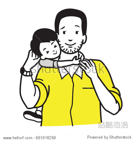 Son hugging his dad around neck  concept of father and son relationship  parenting  or father's day holiday.  Vector illustration character  outline sketch drawing  doodle  cartoon.