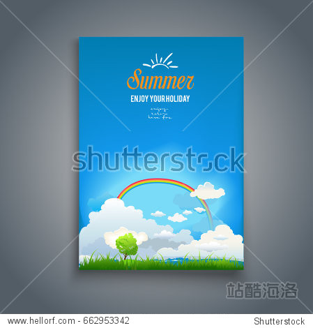 Nature template with rainbow and tree for design banner  ticket  leaflet  card  poster and so on.