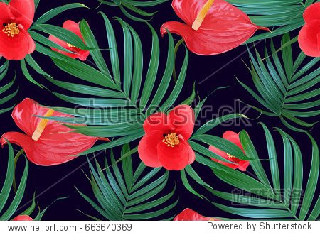 Vector Tropical flowers and palm leaves seamless pattern. Floral exotic Hawaiian background. Blooming elements.Jungle plants. Ideal for fabric wallpaper wrapping paper  textile  bedding t-shirt print.