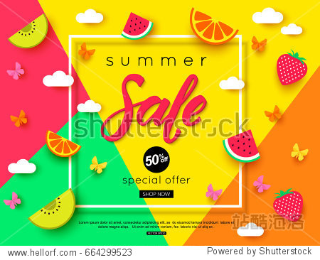 Summer Sale banner with pieces of ripe fruit  berries on colorful background. Vector eps 10 format