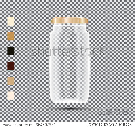 Glass Jar on Transparent Background. Vector Illustration.