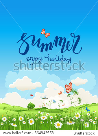 Summer or spring landscape for design banner  ticket  leaflet  card  poster and so on. Green grass and flowers scenery.
