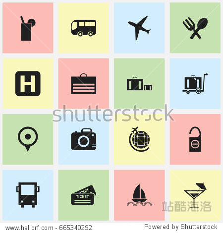 Set Of 16 Editable Journey Icons. Includes Symbols Such As Helipad  Cocktail  Aircraft And More. Can Be Used For Web  Mobile  UI And Infographic Design.