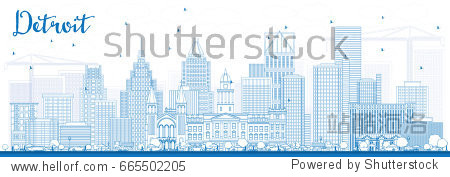 Outline Detroit Skyline with Blue Buildings. Business Travel and Tourism Concept with Modern Architecture. Image for Presentation Banner Placard and Web Site.