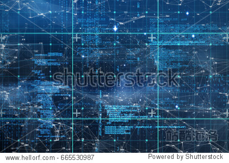 Blue data against connection dots on blue background