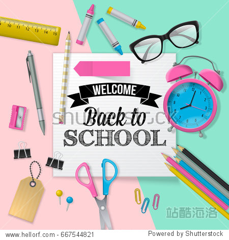 Back to school banner design with lettering  school supplies and paper note. Flat lay style