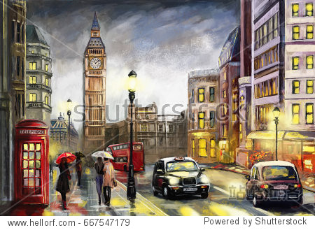 oil painting on canvas  street view of london. Artwork. Big ben.  Red umbrella  bus and road  telephone. Black car - taxi. England