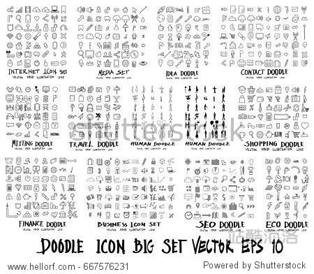 MEGA set of icon doodles of Internet  Media   Idea  Contact  Meeting  Travel  Human  Shopping  Finance  Business  Ecology
