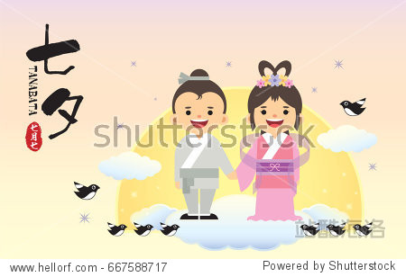 Tanabata festival or Qixi Festival. Cartoon cowherd and weaver girl with magpie. (caption: Tanabata / QiXi  7th of July)
