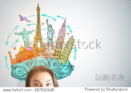 Half face portrait of surprised woman with travel sketch on light background. Vacation concept
