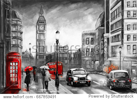 oil painting on canvas  street view of london. Artwork. Big ben. couple and red umbrella  bus and road  telephone. Black car - taxi. England
