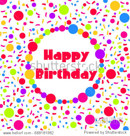 Happy Birthday! Vector illustration with congratulation in a colorful frame on a white background with bright confetti