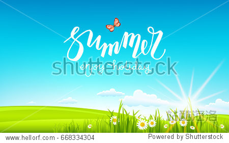 Summer or spring template with place for text for design banner  ticket  leaflet  card  poster and so on. Green grass and flowers scenery.
