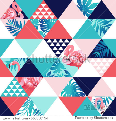 Exotic beach trendy seamless pattern  patchwork illustrated floral vector tropical banana leaves. Jungle pink flamingos Wallpaper print background mosaic