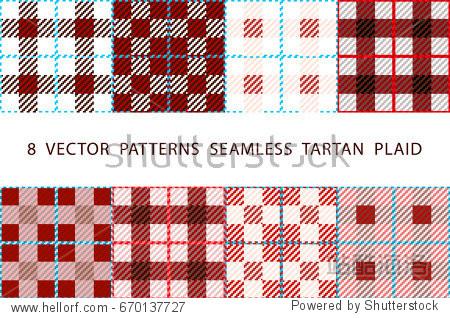 8  VECTOR  PATTERNS  SEAMLESS  TARTAN  PLAID red set art