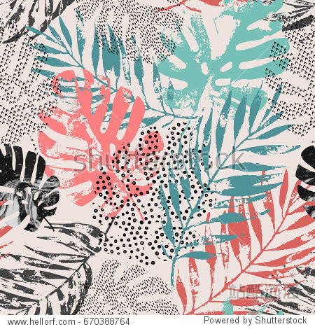 Art illustration: rough grunge tropical leaves filled with marble texture  doodle elements background. Abstract palm  monstera leaf in retro vintage colors  vector seamless pattern. Hand drawn design