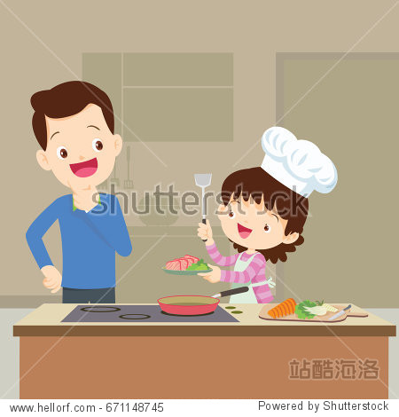 happy family with Dad looking daughter cooking in kitchen vector cartoon illustration