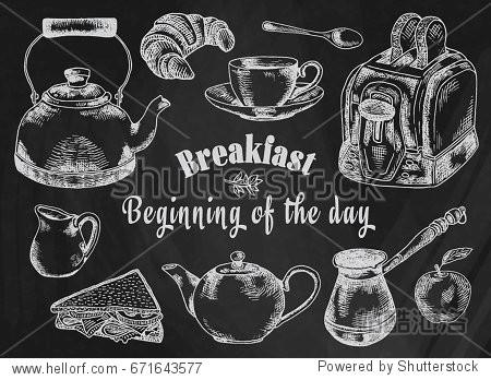 Chalk drawing breakfast illustration. Toaster  bread  toast  apple  fruit  coffee pot  kettle  sandwich  snacks  milk pot  mug  cup  croissant  kettle  spoon  dessert on the chalkboard background