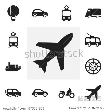 Set Of 12 Editable Transportation Icons. Includes Symbols Such As Aircraft  Ship  Car Vehicle And More. Can Be Used For Web  Mobile  UI And Infographic Design.