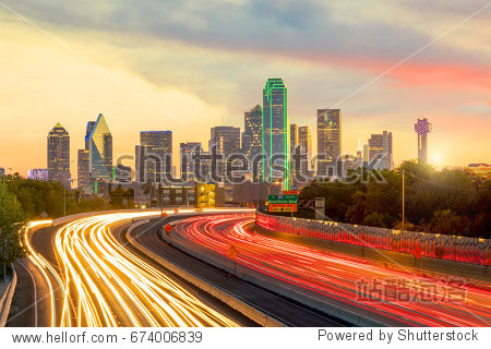 Dallas downtown skyline at twilight  Texas USA