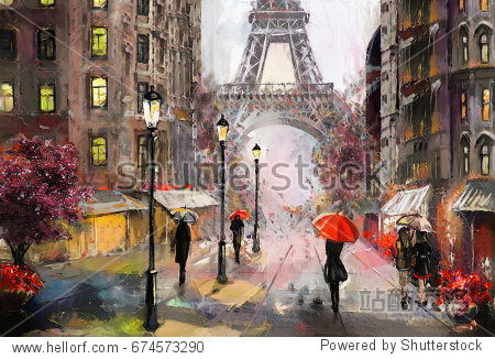 oil painting on canvas  street view of Paris. Artwork. eiffel tower . people under a red umbrella. Tree. France