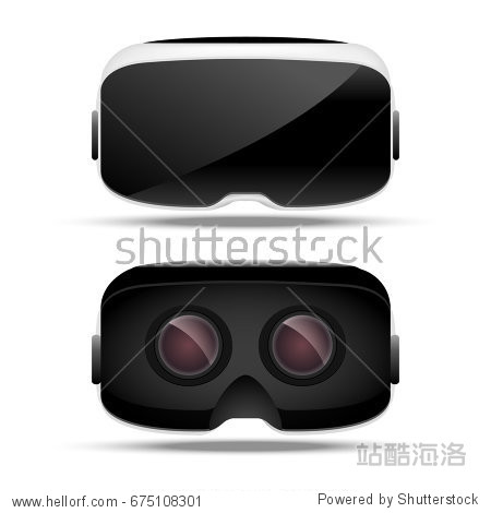 Virtual reality 3d concept device. Digital electronic entertainment. Virtual reality  glass. Innovation technology front view and back view.