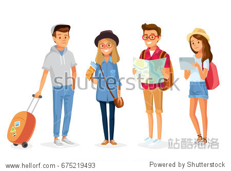 Vector young people with travel bag and map traveling