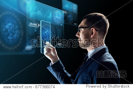 business  augmented reality and future technology concept - businessman in glasses working with transparent tablet pc computer and virtual screens projections over black background
