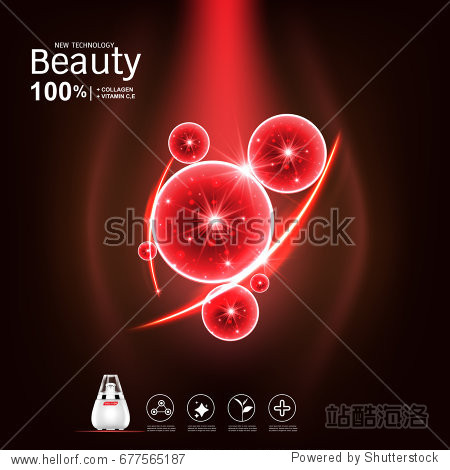 Collagen and Serum Vitamin Vector on Red Background for Skin Care Products.