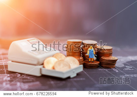 Concept  shopping or business. miniature housewife with shopping bag, cash machine and coin stack on the map.