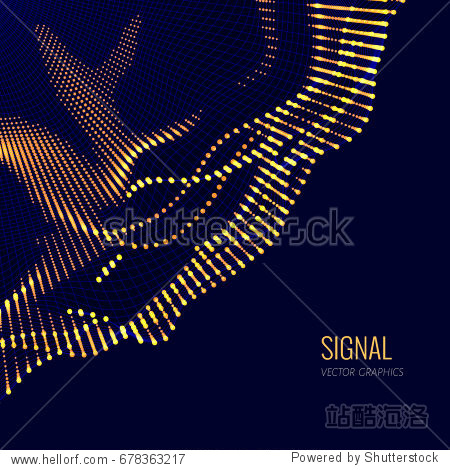 Vector abstract composition made of particles and wireframe. Concept design of digital data array  signal.