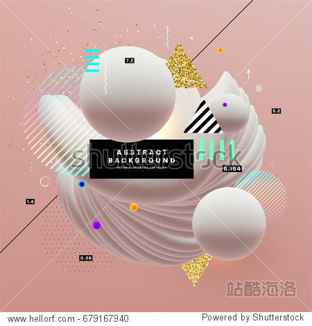 Placard with abstract liquid bubbles shapes  80s memphis geometric style flat and 3d design elements. Retro art for covers  banners  flyers and posters. Eps10 vector illustrations