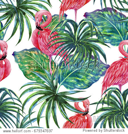 Pink flamingos, exotic birds, palm leaves, jungle leaf, plants, seamless tropical watercolor pattern background