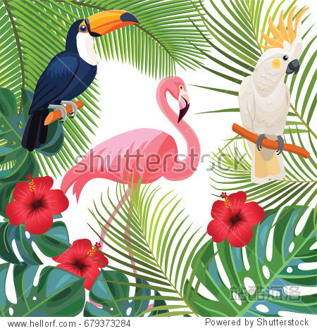 Bright summer illustration with tropical plants and exotic birds.