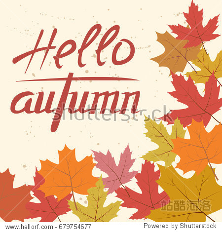 Card template with colorful autumn leaves and text. Raster version.