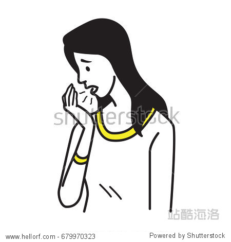 Vector character portrait of pretty woman breath to her palm  and problem with bad stinky breath  halitosis. Outline hand draw sketching design  simple style