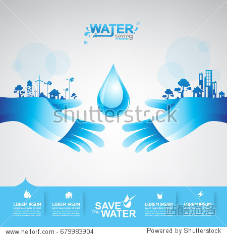 Save Water vector concept Saving.