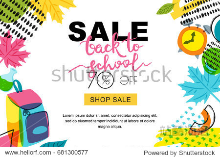 Vector back to school sale banner  poster background. Hand drawn calligraphy lettering and doodle school supplies. Layout for discount labels  flyers and shopping.