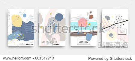 Covers templates set with trendy geometric patterns  colors and memphis retro elements. Modern design for placards  posters  presentations and banners. Vector illustrations.