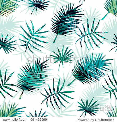 Seamless exotic pattern with tropical palm leaves. Vector hand drawn background.