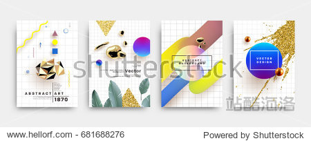 Covers templates set with memphis  bauhaus and contemporary art elements with geometric and liquid shapes. Modern design for placards  posters  certificates  banners and flyers. Vector illustrations.