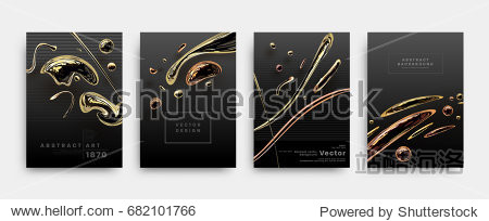 Covers templates set with liquid golden shapes. Flowing bronze bubbles for posters  placards  presentations  banners and flyers. Vector illustrations.