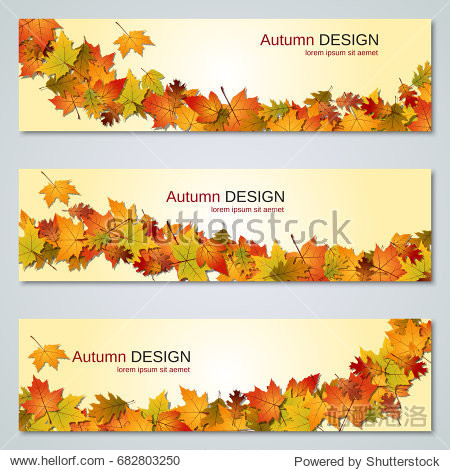Autumn colorful leaves vector banners collection